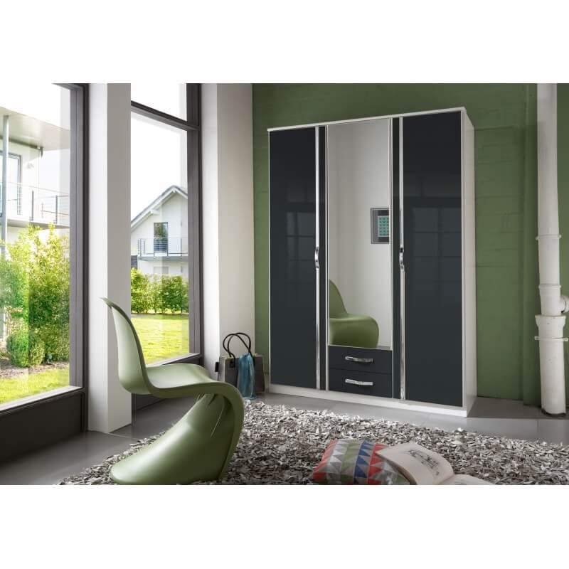Armoire design 3 portes 2 tiroirs blanche noir laqu juliette matelpro - Armoire 3 portes blanche ...