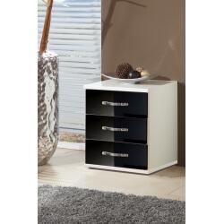 Meuble de rangement design 3 tiroirs blanc/noir laqué Juliette