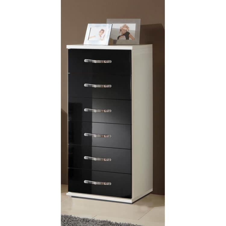 Meuble de rangement design 6 tiroirs blanc/noir laqué Juliette