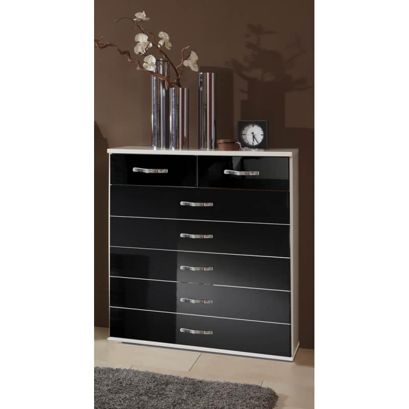 meuble de rangement design 7 tiroirs blanc noir laqu. Black Bedroom Furniture Sets. Home Design Ideas