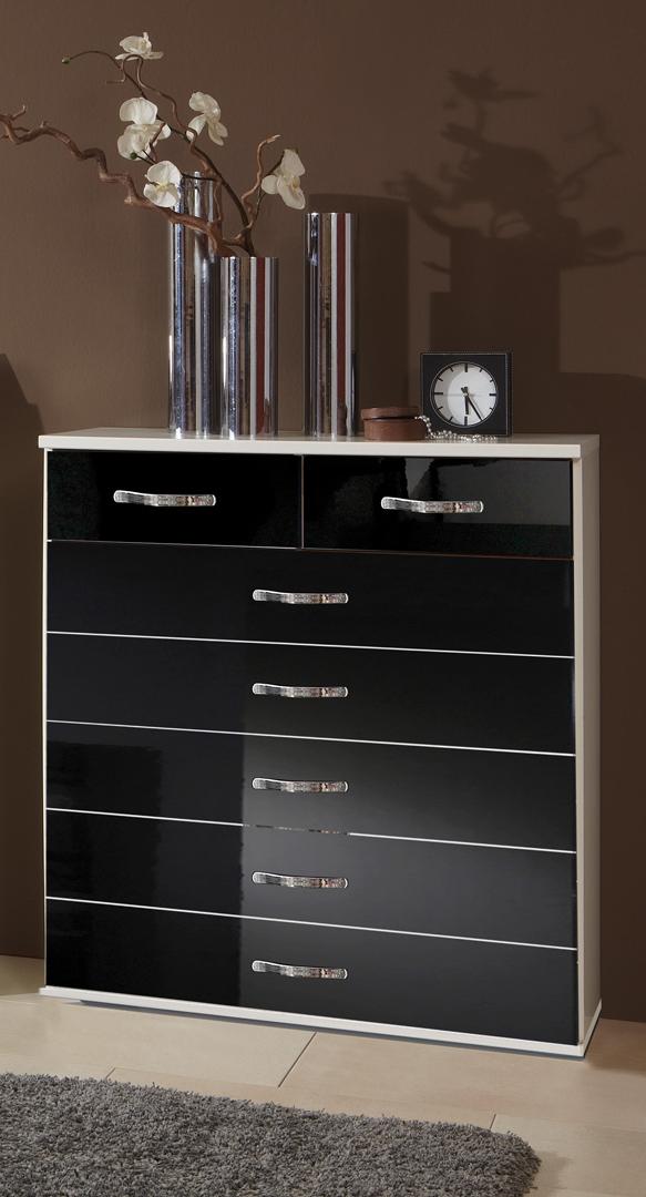 Meuble de rangement design 7 tiroirs blanc/noir laqué Juliette