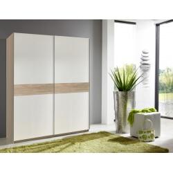 Armoire design 2 portes coulissantes 126 cm coloris blanc/chêne Powo