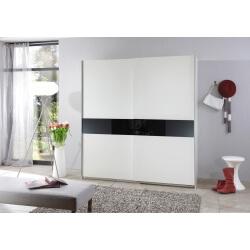 Armoire design 2 portes coulissantes 126 cm coloris blanc/verre noir Powo