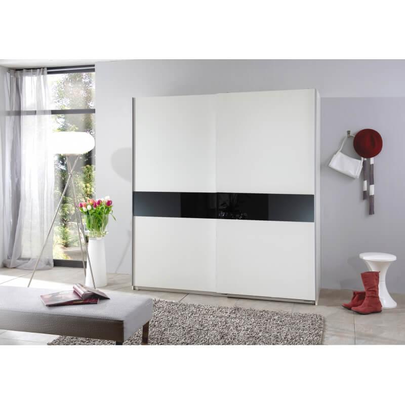 Armoire design 2 portes coulissantes 126 cm coloris blanc verre noir powo matelpro - Armoire 2 portes coulissantes blanc ...