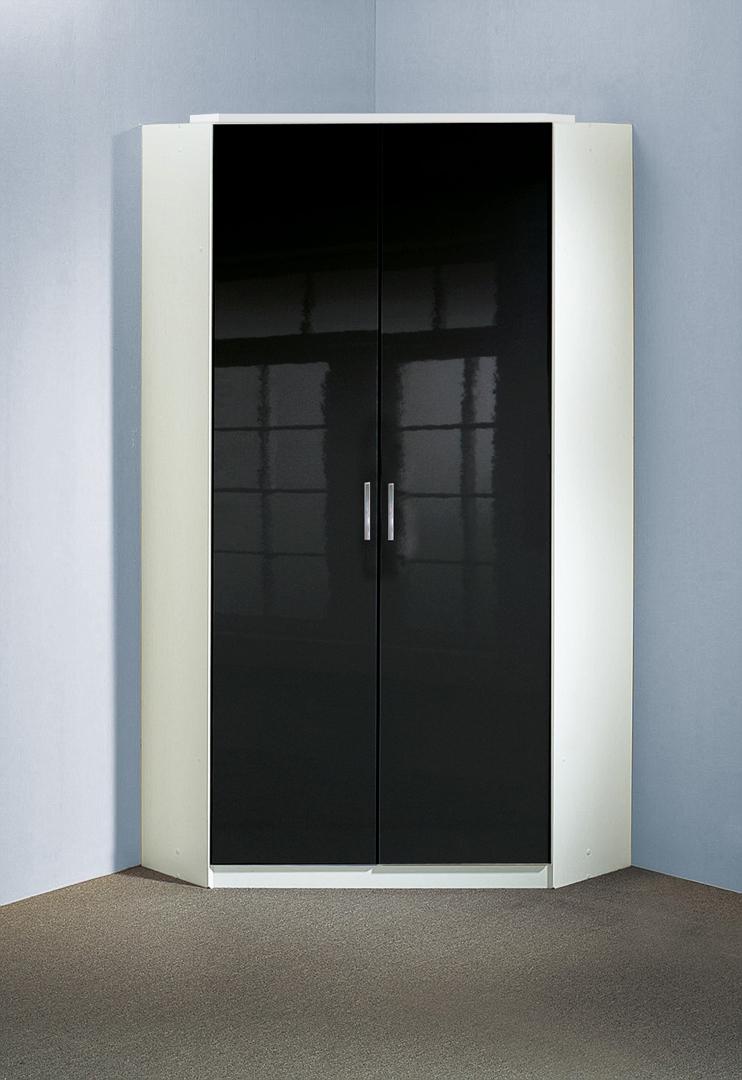 Armoire d'angle design 2 portes noir laqué/blanc Orphea