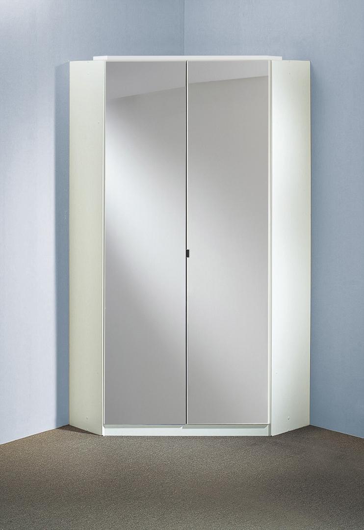 Armoire d'angle design 2 portes avec miroir blanche Orphea