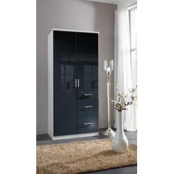 Armoire design 2 portes/3 tiroirs noir laqué/blanc Orphea