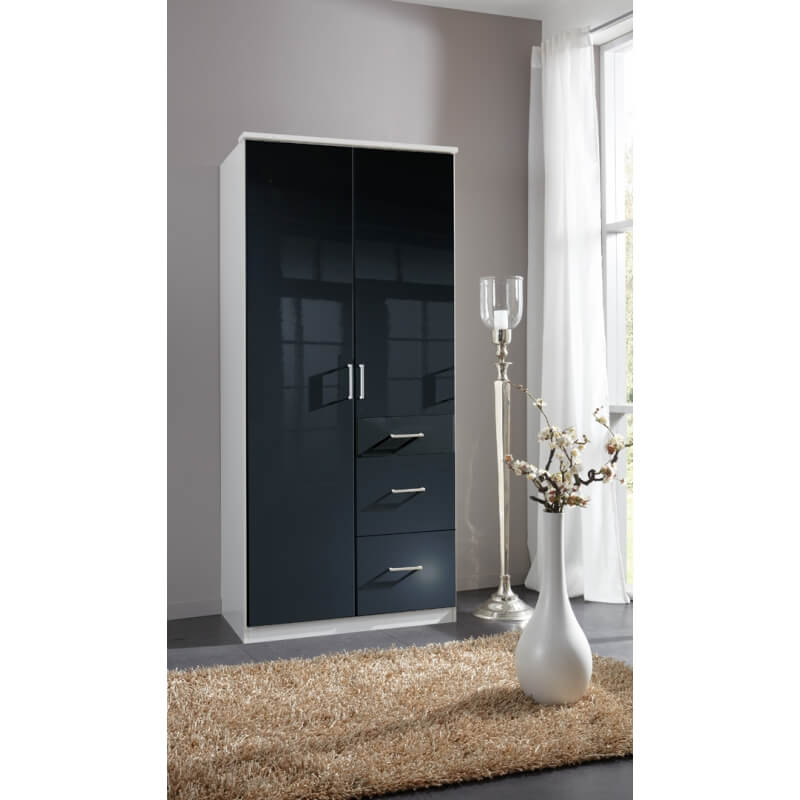 armoire design 2 portes 3 tiroirs noir laqu blanc orphea. Black Bedroom Furniture Sets. Home Design Ideas
