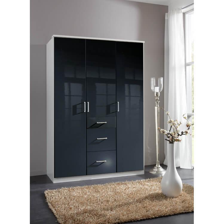 Armoire design 3 portes/3 tiroirs noir laqué/blanc Orphea