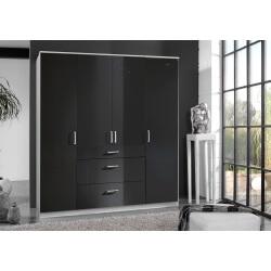 Armoire design 4 portes/3 tiroirs noir laqué/blanc Orphea