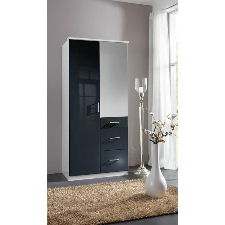 armoire design 2 portes 3 tiroirs avec miroir noir laqu blanc orphea matelpro. Black Bedroom Furniture Sets. Home Design Ideas
