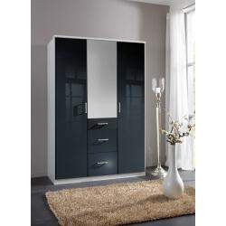 Armoire design 3 portes/3 tiroirs avec miroir noir laqué/blanc Orphea