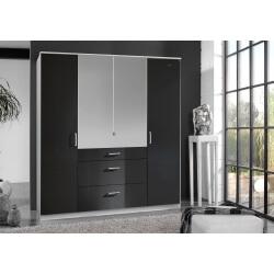 Armoire design 4 portes/3 tiroirs avec miroir noir laqué/blanc Orphea