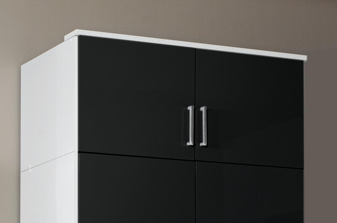 Surmeuble pour armoire 2 portes noir laqué/blanc Orphea