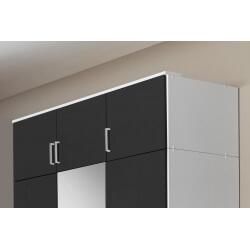 Surmeuble pour armoire 3 portes noir laqué/blanc Orphea