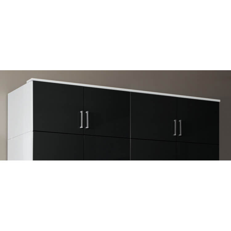 Surmeuble pour armoire 4 portes noir laqué/blanc Orphea