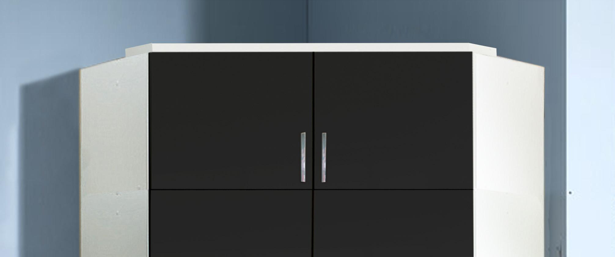 Surmeuble d'angle pour armoire noir laqué/blanc Orphea