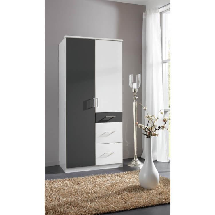 Armoire contemporaine 2 portes/3 tiroirs coloris blanc/graphite Yvanoe