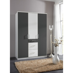 Armoire contemporaine 3 portes/3 tiroirs coloris blanc/graphite Yvanoe