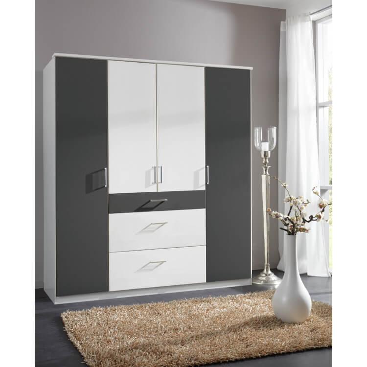 Armoire contemporaine 4 portes/3 tiroirs coloris blanc/graphite Yvanoe