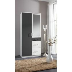 Armoire contemporaine 2 portes/3 tiroirs avec miroir coloris blanc/graphite Yvanoe