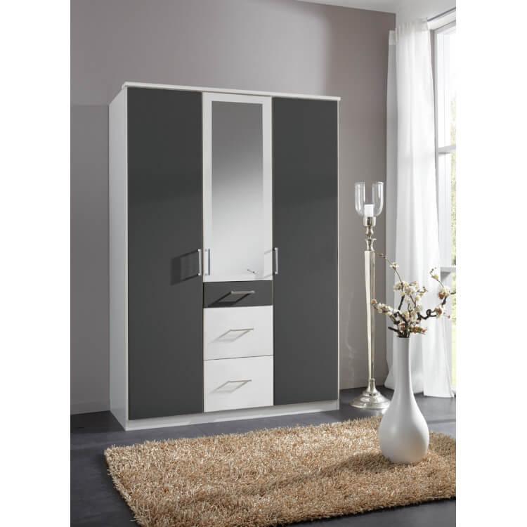 Armoire contemporaine 3 portes/3 tiroirs avec miroir coloris blanc/graphite Yvanoe