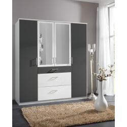 Armoire contemporaine 4 portes/3 tiroirs avec miroir coloris blanc/graphite Yvanoe