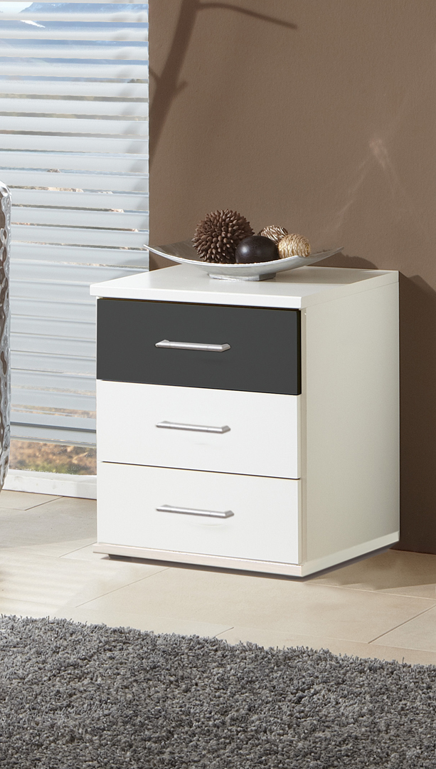 Chevet contemporain 3 tiroirs coloris blanc/graphite Yvanoe