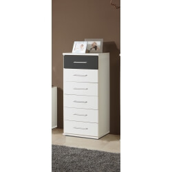 Commode contemporaine 6 tiroirs coloris blanc/graphite Yvanoe