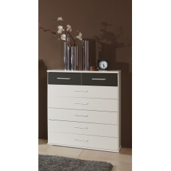 Commode contemporaine 7 tiroirs coloris blanc/graphite Yvanoe