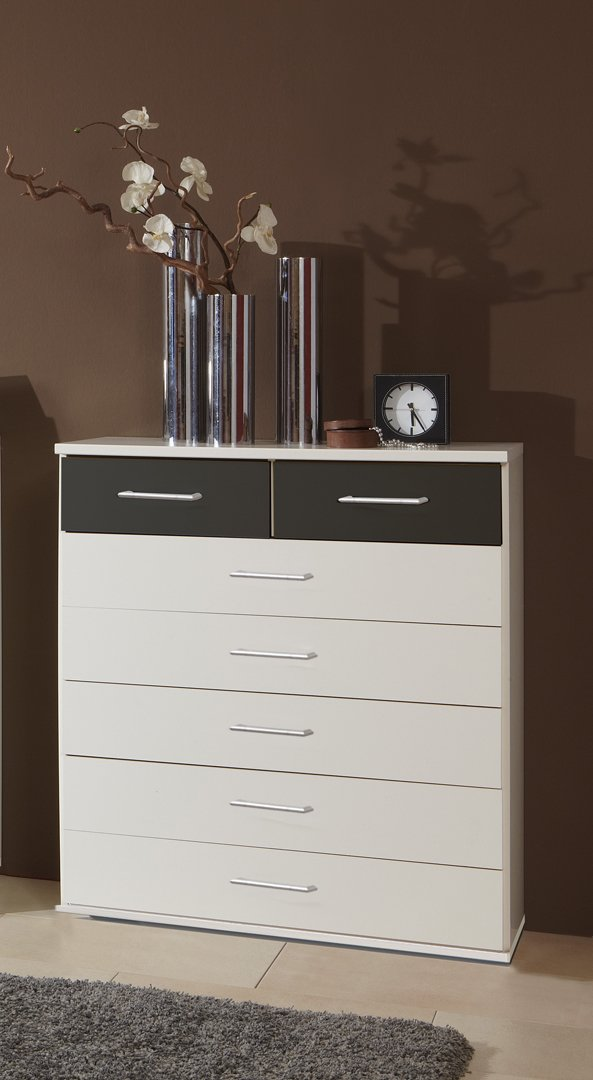 Commode contemporaine 7 tiroirs coloris blanc/graphite Yvanoe