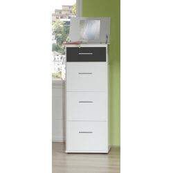 Chiffonnier contemporain 4 tiroirs avec miroir coloris blanc/graphite Yvanoe