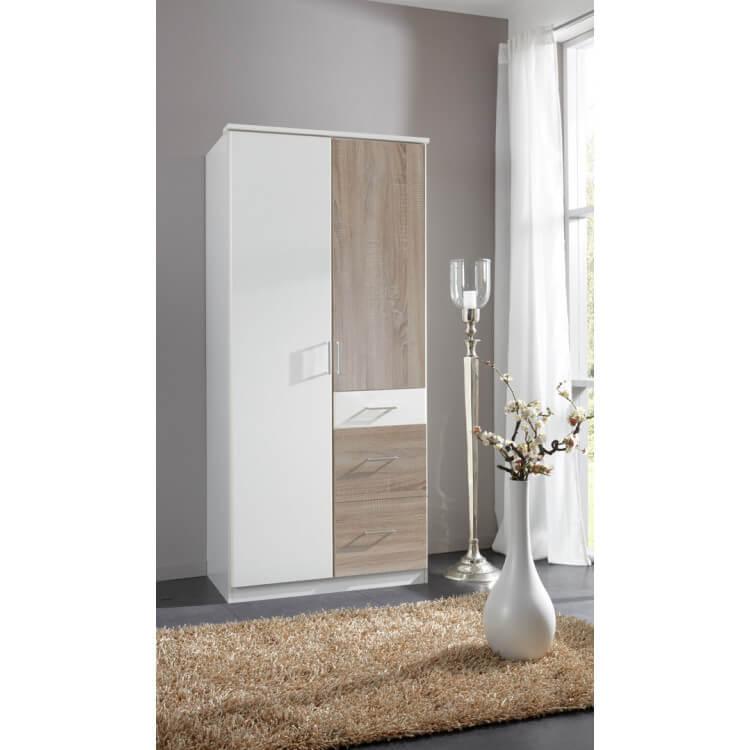 Armoire contemporaine 2 portes/3 tiroirs coloris blanc/chêne Thylane