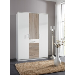 Armoire contemporaine 3 portes/3 tiroirs coloris blanc/chêne Thylane