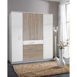 Armoire contemporaine 4 portes/3 tiroirs coloris blanc/chêne Thylane