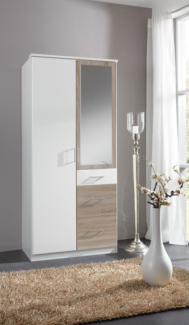 Armoire contemporaine 2 portes/3 tiroirs avec miroir coloris blanc/chêne Thylane