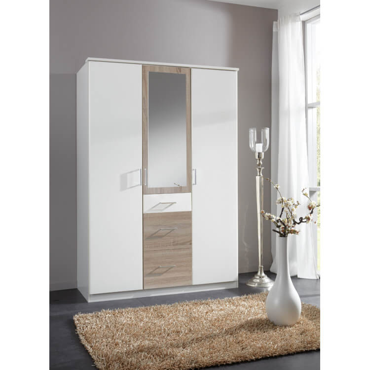 Armoire contemporaine 3 portes/3 tiroirs avec miroir coloris blanc/chêne Thylane