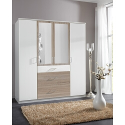 Armoire contemporaine 4 portes/3 tiroirs avec miroir coloris blanc/chêne Thylane
