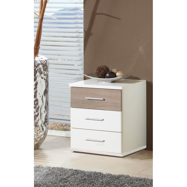 Chevet contemporain 3 tiroirs coloris blanc/chêne Thylane | Matelpro