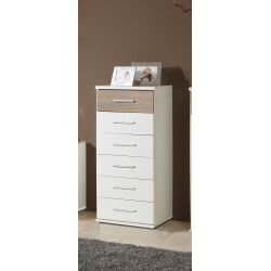 Commode contemporaine 6 tiroirs coloris blanc/chêne Thylane