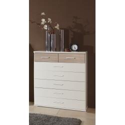 Commode contemporaine 7 tiroirs coloris blanc/chêne Thylane