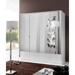 Armoire contemporaine 4 portes coloris blanc Adagio
