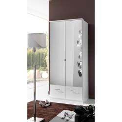 Armoire contemporaine 2 portes/2 tiroirs coloris blanc Adagio