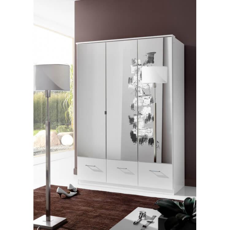 Armoire contemporaine 3 portes/3 tiroirs coloris blanc Adagio