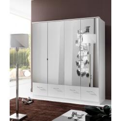 Armoire contemporaine 4 portes/4 tiroirs coloris blanc Adagio