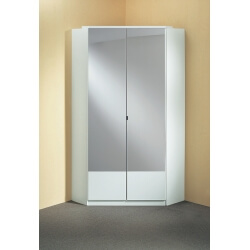 Armoire d'angle contemporaine 2 portes coloris blanc Adagio