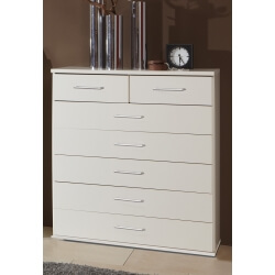 Commode contemporaine 7 tiroirs coloris blanc Adagio