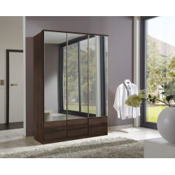 Armoire contemporaine 3 portes coloris noyer Adagio