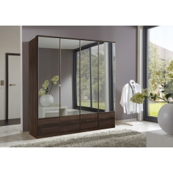 Armoire contemporaine 4 portes coloris noyer Adagio