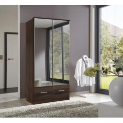 Armoire contemporaine 2 portes/2 tiroirs coloris noyer Adagio